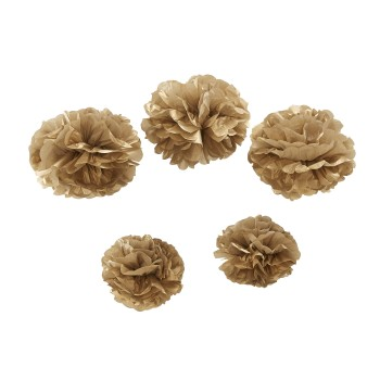 Pom Poms 5er Set Ginger Ray -gold
