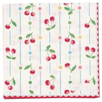 Papierservietten Cherry White Small 20 Stück - Greengate