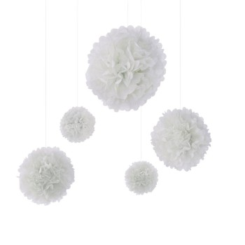 Pompoms Weiß 5er Set