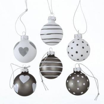 Christbaumkugeln Grau.Weihnachtskugeln Punkte Herz Streifen Grau Weiss 6er Set