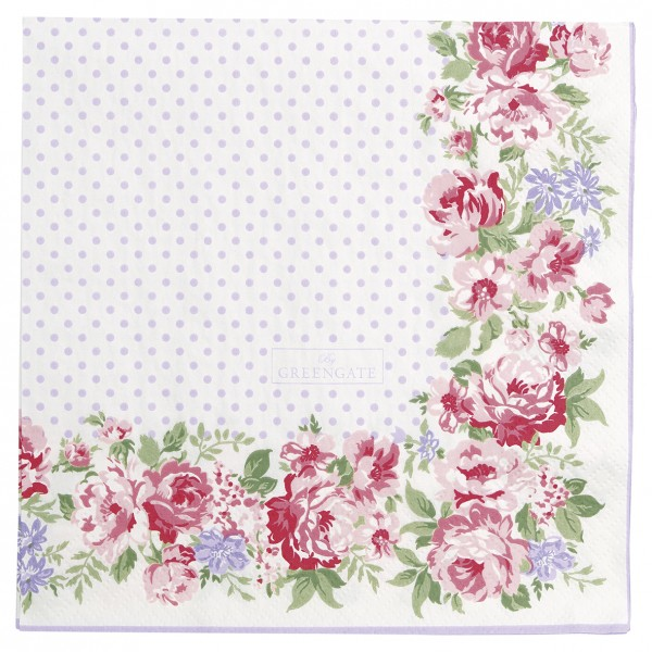 Papierservietten Rose White 20 Stück - Greengate