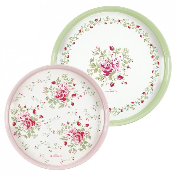 Greengate Tablett Mary White Rund 2er Set