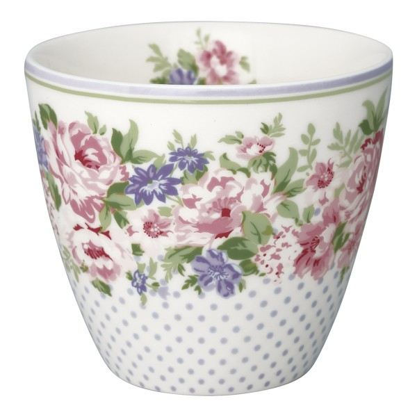 Latte Cup Rose White Greengate