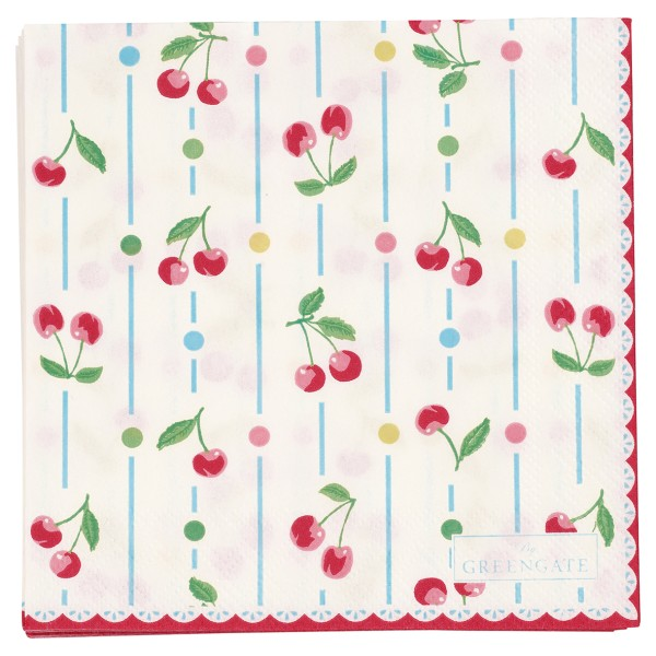 Papierservietten Cherry White Small - Greengate