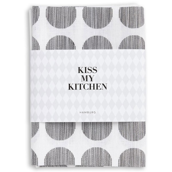 Geschirrtuch Dots White Black - KISS MY KITCHEN