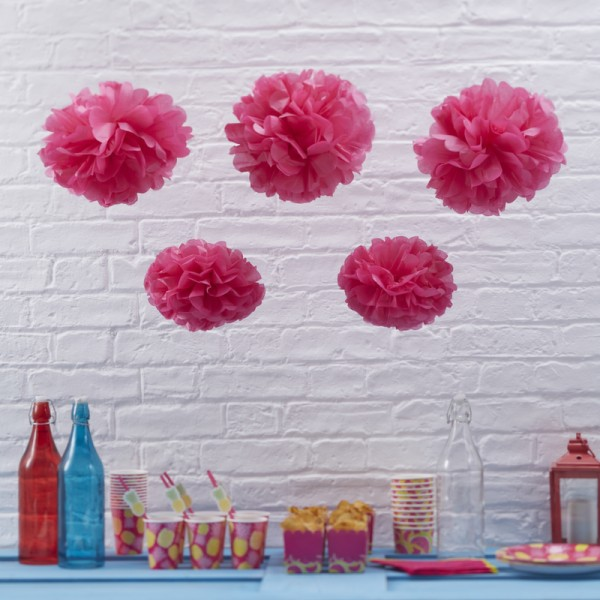 Pom Poms 5er Set - Hot pink
