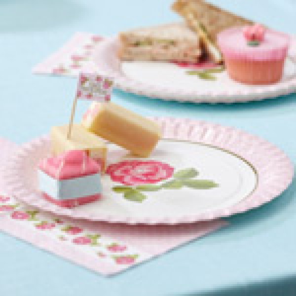 Pappteller Vintage Rose 8er Set