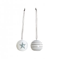 House Doctor Weihnachtskugeln Stripes & Star 2er Set - klein